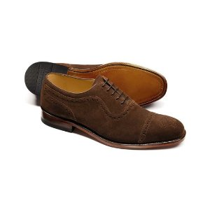 Brown Parker suede toe cap brogue Oxford shoes | Charles Tyrwhitt