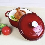 Utopia Kitchen Enameled Cast Iron Dutch Oven – Red Color with Lid, 3.2-quart