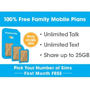 Only Pay $0.50/Sim Free 1 monthUnlimited Talk, Text, and Shared 4GB plan + Pick your number of lines