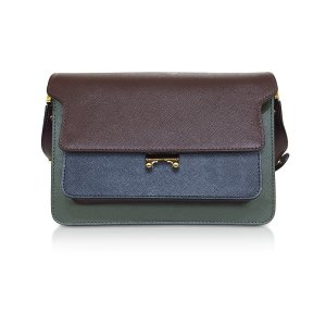 Marni Burgundy, Orion Blue and Forest Green Saffiano Leather Medium Trunk Bag