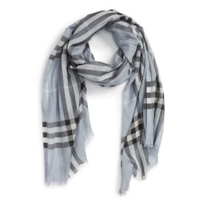 Giant Check Print Wool & Silk Scarf