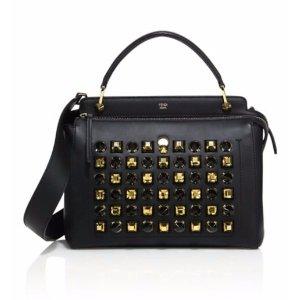 Fendi - Dotcom Studded Leather Satchel - saks.com