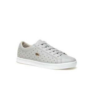 Women's Straightset Perforated Piqué Leather Sneakers | LACOSTE