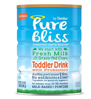 $71Pure Bliss by Similac Toddler Drink with Probiotics, Starts with Fresh Milk from Grass-Fed Cows, One Month Supply, 31.8 ounces (Pack of 4)