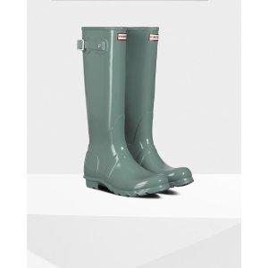 Womens Green Tall Gloss Rain Boots | Official US Hunter Boots Store