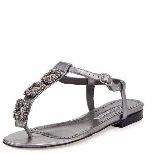 Manolo Blahnik Ottolina Crystal T-Strap Sandal, Silver