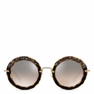 Miu Miu Glittering Mirrored Round Sunglasses, 49mm | Bloomingdale's