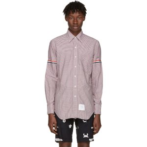 Thom Browne: Tricolor Classic University Check Grosgrain Shirt