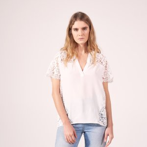 Top With Lace In Various Places - Tops & Shirts - Sandro-paris.com