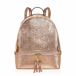 Rhea Zip Metallic Medium Leather Backpack - 100% Exclusive