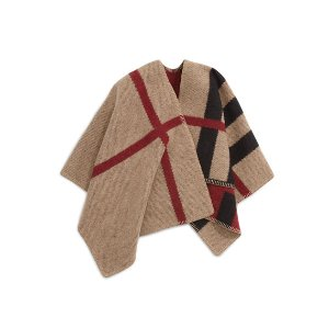 Burberry Girls' Mega Check Wool/Cashmere Cape