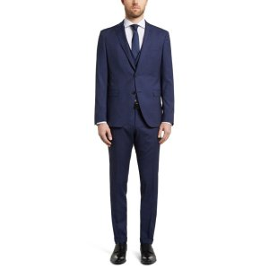 'Reyno/Wave WE' | Extra-Slim Fit, Virgin Wool Silk Blend 3-Piece Suit