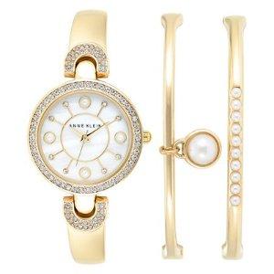 Anne Klein Women's Gold-Tone Bangle Bracelet Watch & Bracelets Set 30mm AK-1960MACY - Anne Klein - Jewelry & Watches - Macy's