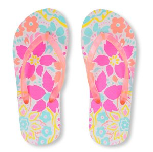 Girls Neon Floral Print Flip Flop