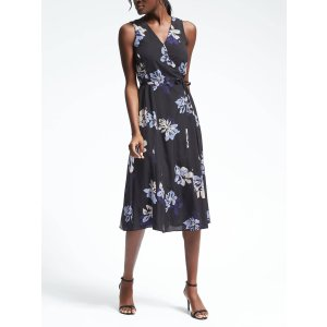 Sleeveless Floral Wrap Dress | Banana Republic