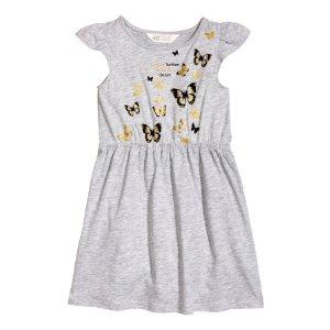 Printed Jersey Dress | Gray/butterflies | Kids | H&M US