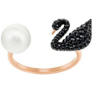 Iconic Swan Ring, Black - Jewelry - Swarovski Online Shop