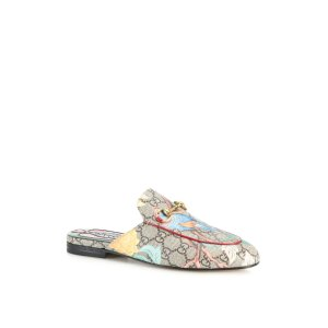 Princetown Gg Supreme Tian-Print Leather Loafer Slides by Gucci