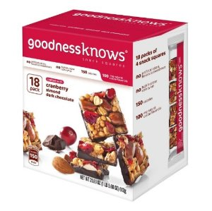 $14.24goodnessknows Cranberry, Almond and Dark Chocolate Snack Squares 18-Count Box