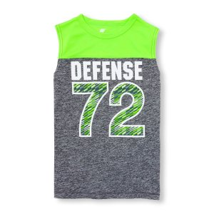 Boys PLACE Sport Sleeveless Neon Colorblock Graphic Jersey Muscle Tank Top | The Children's Place