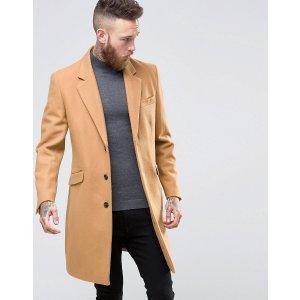 ASOS | ASOS Wool Mix Overcoat In Camel