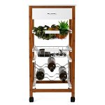 HOMFA Kitchen Rolling Trolley Cart 4-Tiers Bamboo & MDF Board Top With Drawer & Shelves Home Furniture (Brown, Single column)