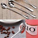 CUH 8 Pcs 9.45-Inch Long Handle Stainless Steel Espresso Iced Tea Cream Spoon Coffee Mixing Spoon