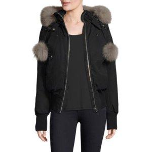 Fox Fur-Trimmed Debbie Bomber Jacket