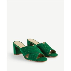 Honor Suede Heeled Sandals | Ann Taylor