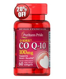 6 for $25.98 + Extra 20% offPuritan's Pride Q-SORB Co Q-10 100mg, 60 Softgels