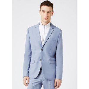 Dusty Blue Twill Skinny Fit Suit Jacket - View All Sale - Sale - TOPMAN USA