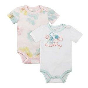 Baby Girl Burt's Bees Baby 2-pk. Organic Morning Glory Bodysuits