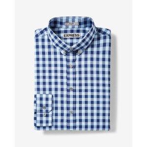 Express 男士修身格子衬衣 蓝色