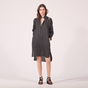 Striped Linen Blend Dress - Dresses - Sandro-paris.com