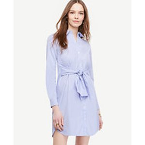 Striped Cinch-Waist Poplin Shirtdress | Ann Taylor