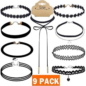 Amazon.com: Outee 9 PCS Women Choker Necklaces Black Velvet Stretch Tattoo Choker Necklace Set for Girls: Arts, Crafts & Sewing