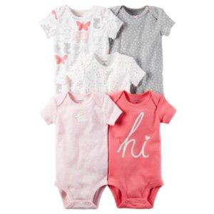 Carter's Little Baby Basics Girl 5-Pack Short Sleeve Bodysuits - JCPenney