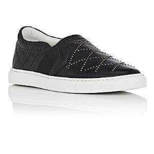 Lanvin Studded Leather Slip-On Sneakers | Barneys Warehouse