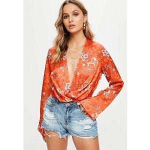 Orange Wrap Front Bodysuit | Missguided