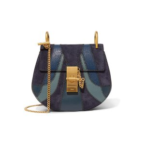Drew mini patchwork leather and suede shoulder bag