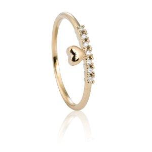 Gold Diamante Heart Midi Ring
