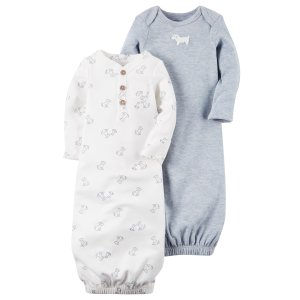 Baby Boy 2-Pack Babysoft Heathered Sleeper Gowns | Carters.com