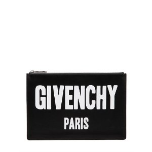 GIVENCHY - MEDIUM ICONIC PRINTED LEATHER POUCH - CLUTCHES - BLACK - LUISAVIAROMA