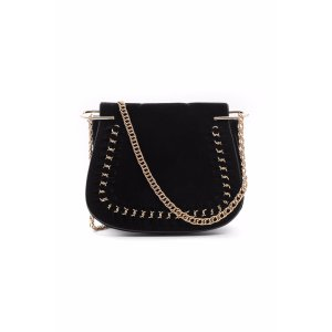 MJ Accessories Saddle Crossbody With Chain Woven