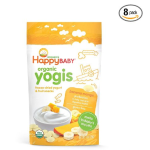 Happy Baby Organic Yogis Freeze-Dried Yogurt & Fruit Snacks, Banana Mango, 1 Ounce (Pack of 8)