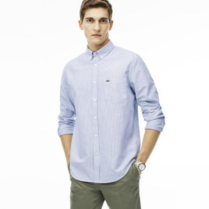 Men's Regular Fit Oxford Cotton Striped Shirt | LACOSTE