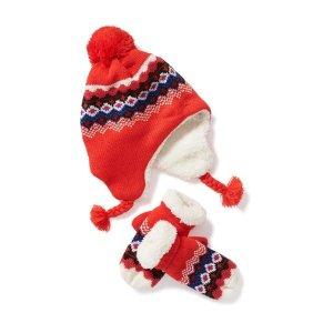 Patterned Trapper Hat & Mittens Set  for Toddler Girls