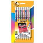 BIC Pencil Xtra Sparkle, colorful barrels, Medium Point (0.7mm) 15-Pack Blister, Black (MPLP151)