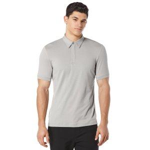 Solid Zip Collar Active Polo - Perry Ellis