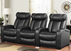 $999Larson Leather Reclining Home Theater Seating, 3-Piece Set
